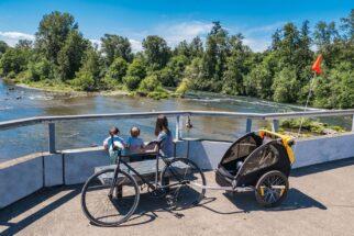 Burley Bee Kids Bike Trailer rental - hire a childrens bike trailer this summer