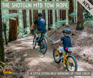 The Shotgun MTB Tow Rope for pulling your child up a hill behind you on their bike