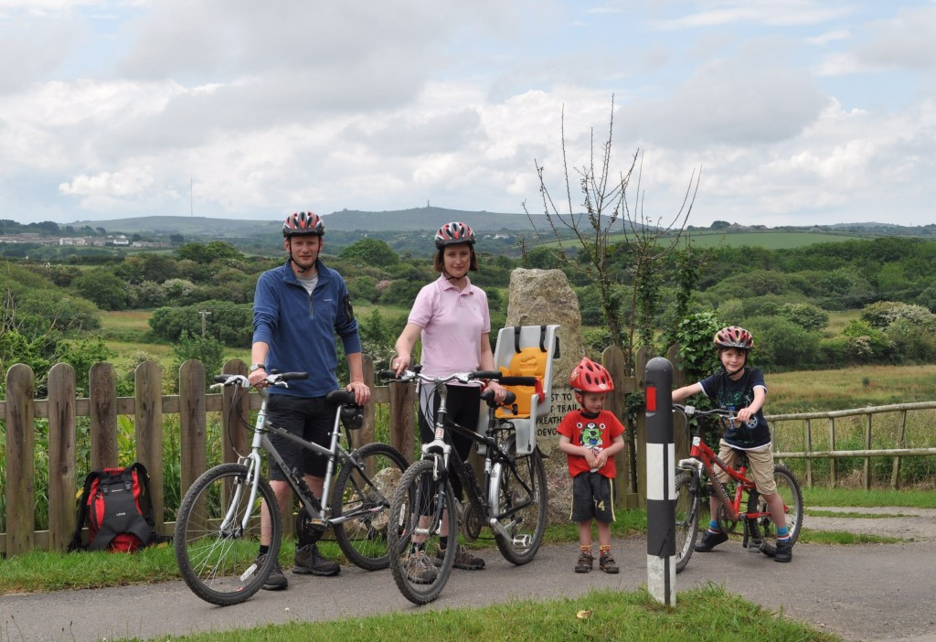 The Cycle Sprog family in 2012 - Cornwall Coast to Coast route Karen Gee and Chris Jones