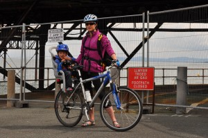 Family cycling in North Wales - National Cycle Network NCN Route 5 at Rhos-on-Sea