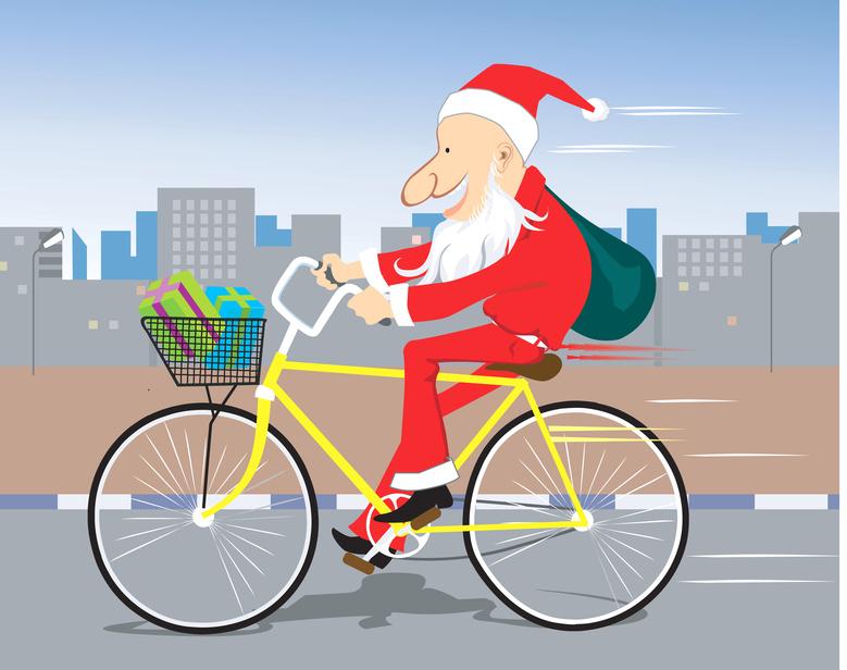 Cycling Santa Clause