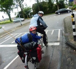 Mother and son on cycling holiday