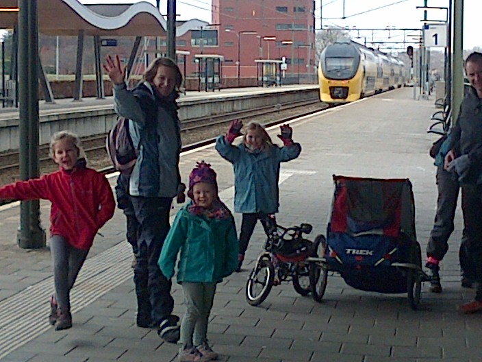 Taking childrens bikes on trains in Holland during our Dutch family cycling holiday