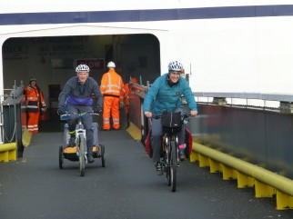 Arriving on our family cycling holiday in Holland by ferry