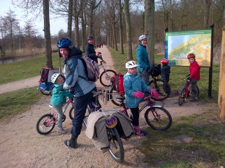 Dutch family cycling holiday using Holland cycle paths which are easy for young children to ride their bikes along