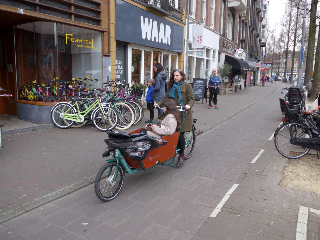 Photo of cargo bike with child in Amsterdam