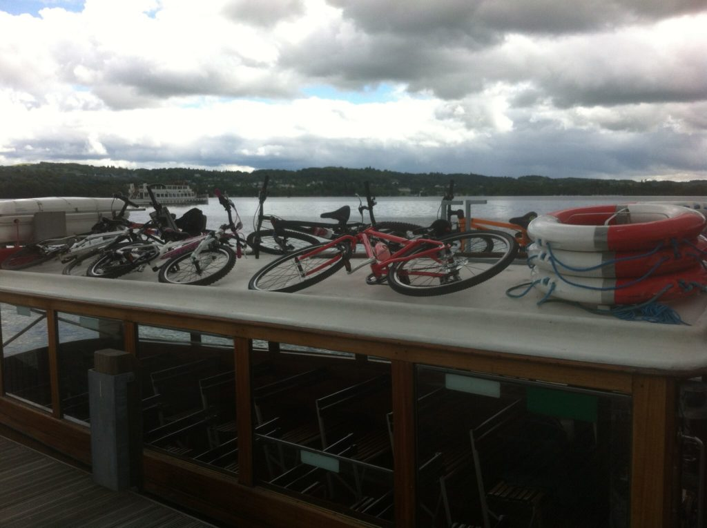 Kids bikes go onto the roof of the Windermere Bike Boat