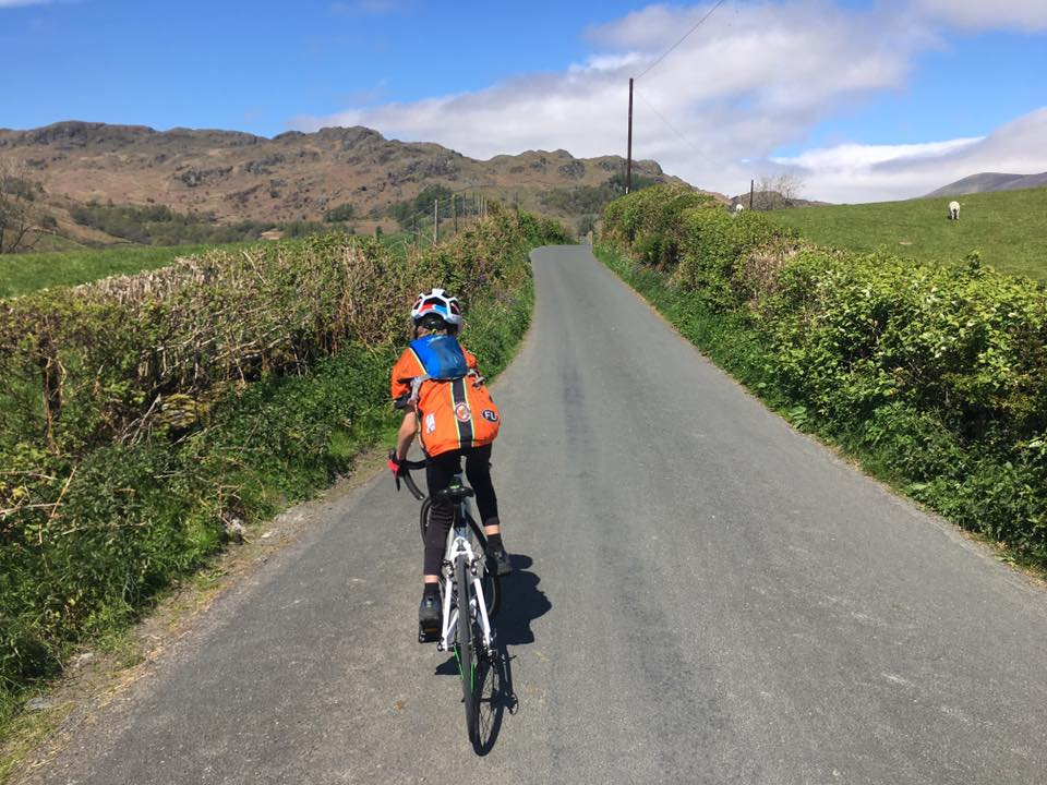 Kids sized Camelbak hydration pack in use on a family bike ride
