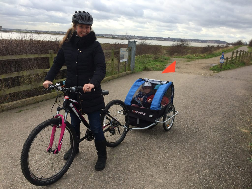 Cycling at RSPB Rainham Marshes with a bike trailer