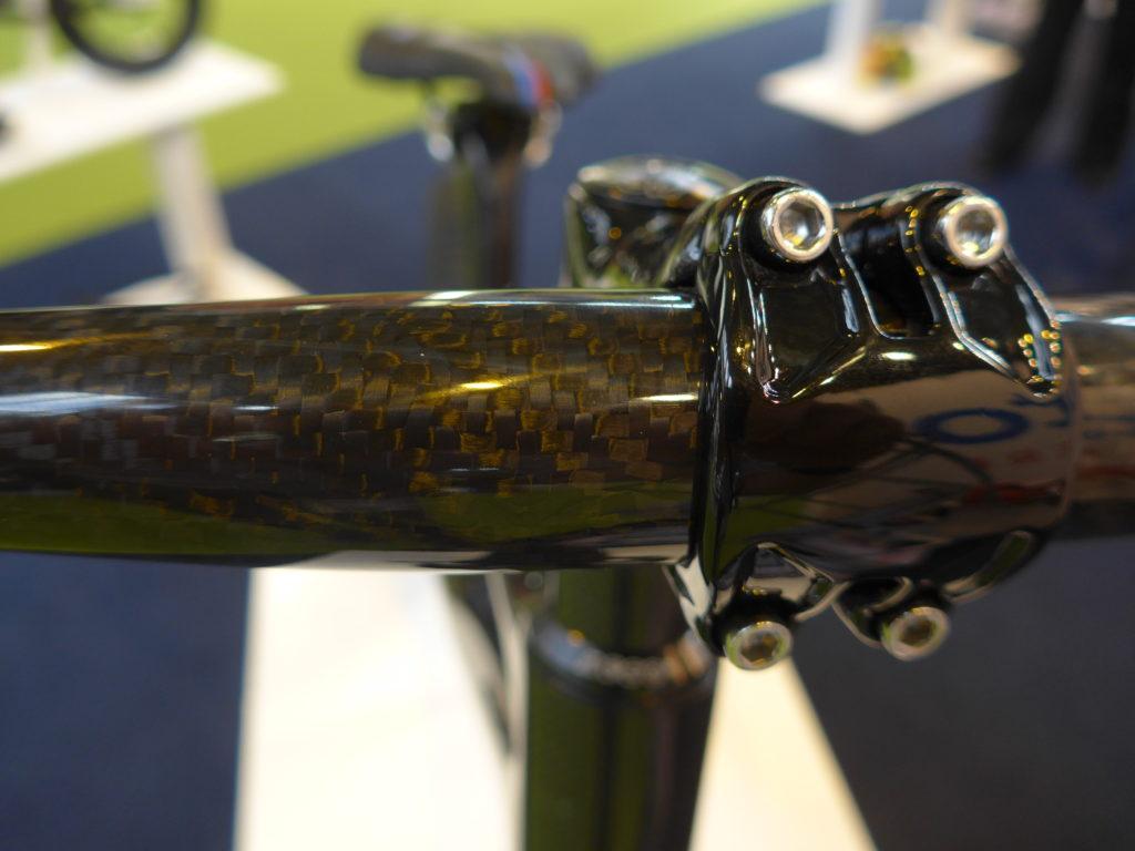Detail of the 3K carbon weave on the Kiddimoto carbon fibre balance bike