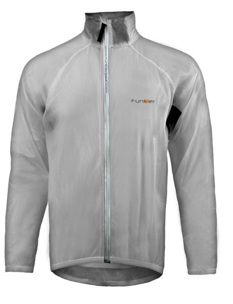 Funkier kids waterproof cycling jacket that packs down into a pocket