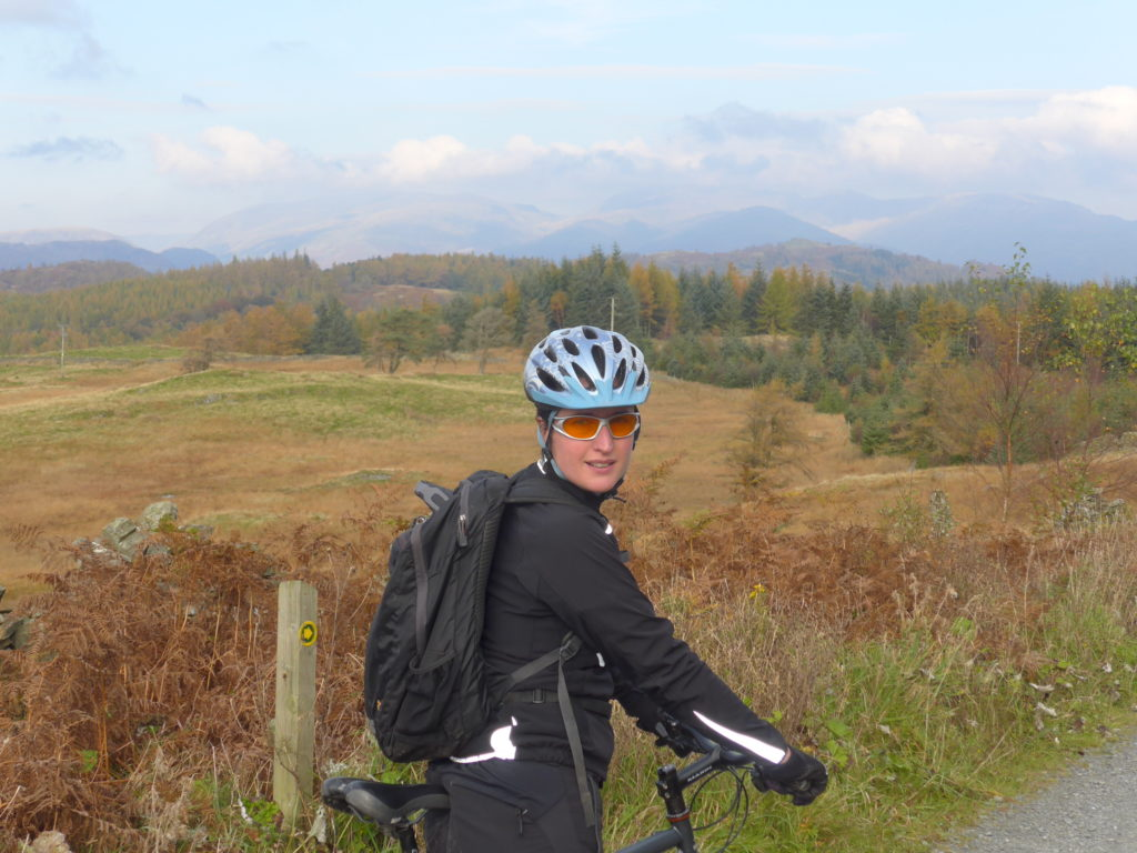 Enjoying the view from the North Face Mountain Bike Trail at Grizedale Forest