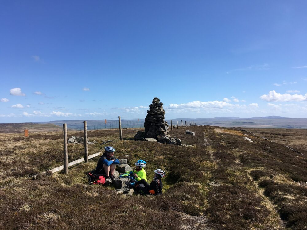 Sheltering from the wind at the top