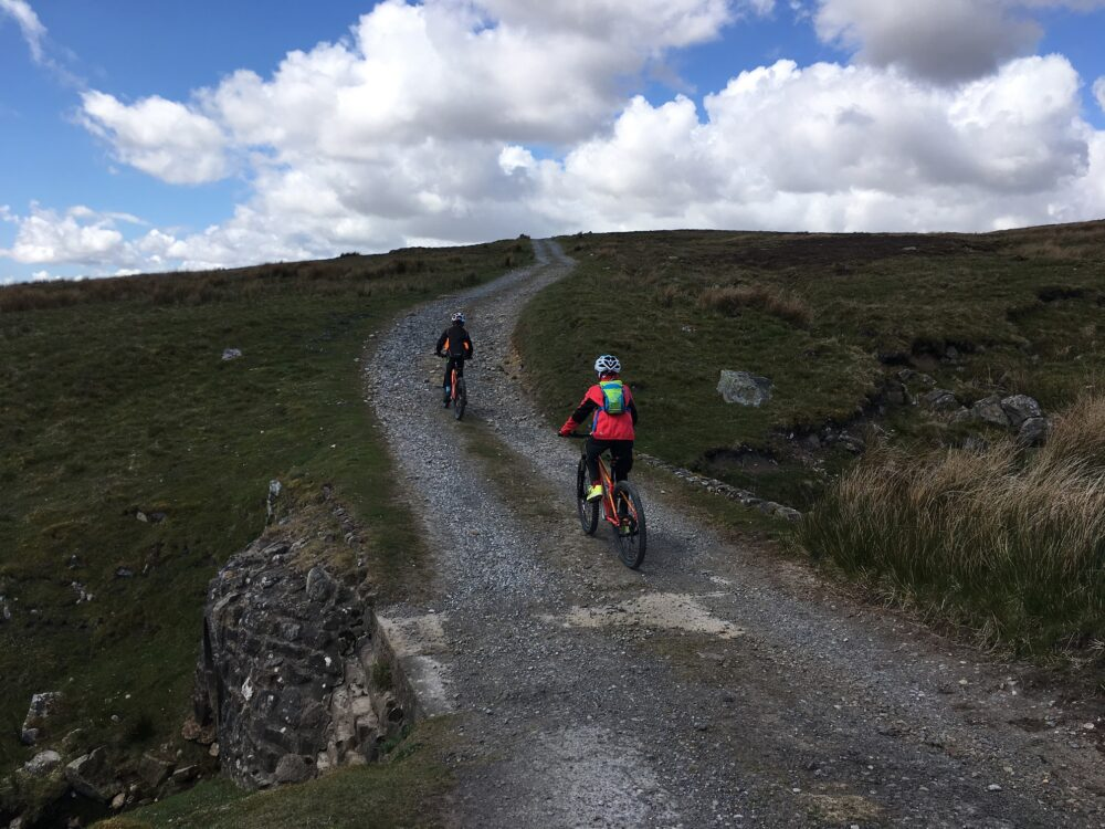 Start of family mountain bike ride in the Yorkshire Dales