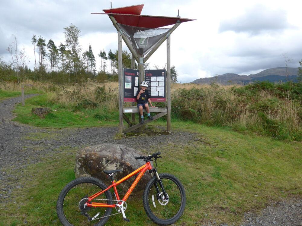 Family mountain biking on the Islabikes Creig 24 at Glentrool, Scotland