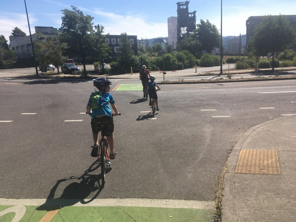 Road markings for cyclists in Portland, USA