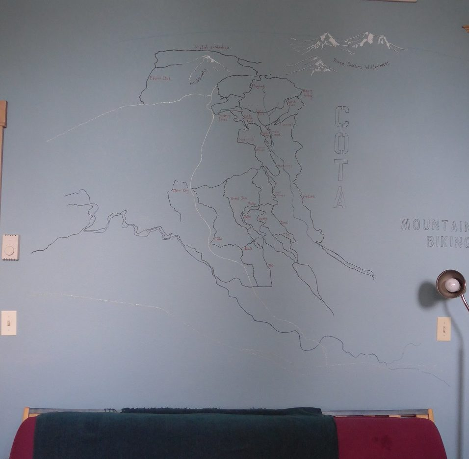 Mountain Bike map on Bend on the wall of our Airbnb