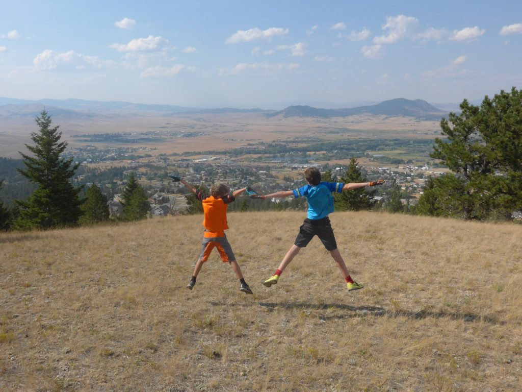 Jumping for joy on the Diretissima Trail, MTB in Helena Montana