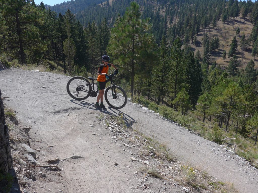 ound a hairpin bend pushing a MTB in Helena Montana