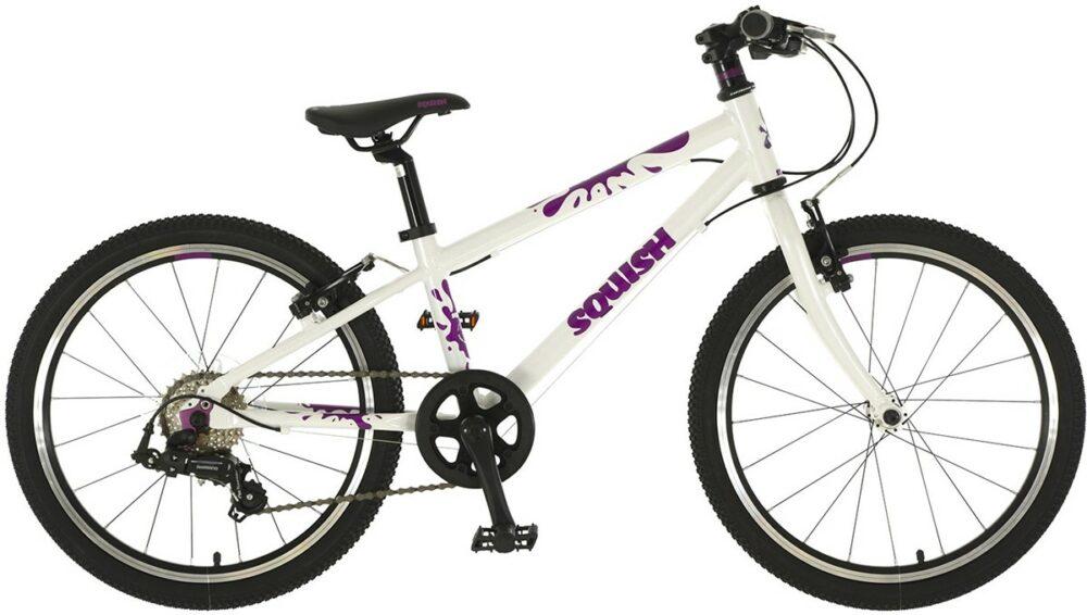 "Squish 20 white and purple 20"" wheel kids bike with gears"