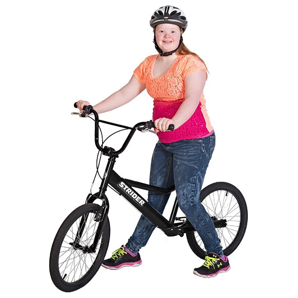 Strider 20 balance bike for adults and teenagers. This large balance bike is particularly good for those with special needs or a disability, but is also useful for those who haven't yet learnt to ride a bike and need a big balance bike