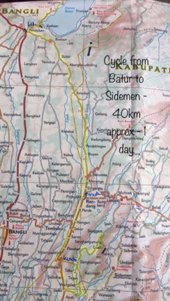 Map of family cycle ride from Batur to Sidemen Bali Indonesia