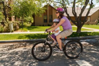 Tyke Toter front bike seat in use - one of the best bike seats for older children