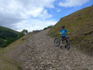 Steep gravel section on the Swale Trail