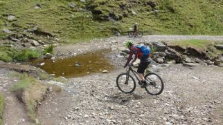 Swale Dale mtb ride with kids - crossing the ford