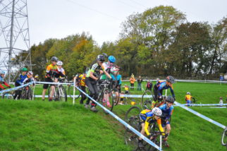 Carrying bikes downhill on the U14's Cyclcocross race