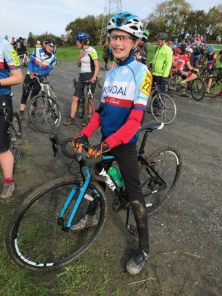 Finishing an U14's Cyclocross race