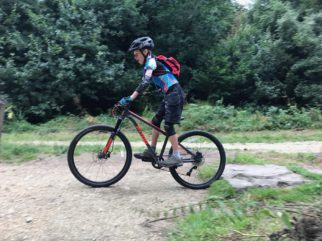 Riding the Frog MTB 69 at Dalby Forest skills area