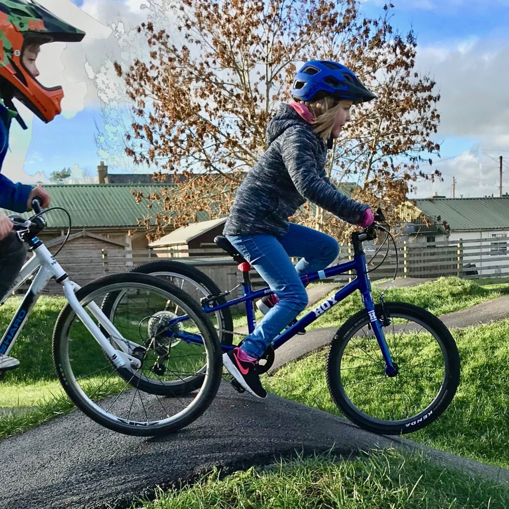 """Hoy Bonaly 20 review: at the pump track on a 20"""" wheel kids bike with gears for the first time"""