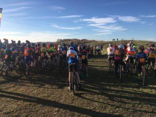 Junior cyclocross - the start of an U14's CX race at Ulverston, Cumbria NWCCA league race