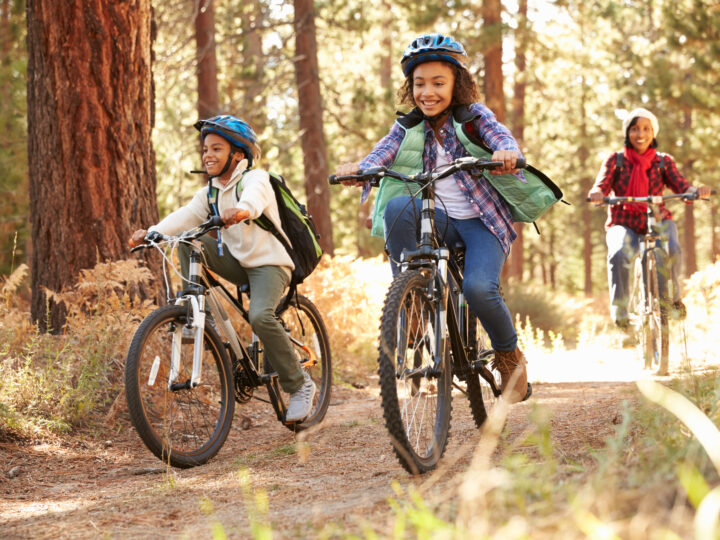 Two kids riding mountain bikes with an adult