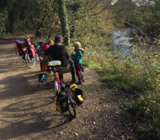 Stopping for hot chocolate at Hulmeswood on the Trans Pennine Trail family cycling holiday