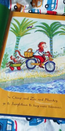 Chimp and Zee - a book that role models parents who cycle everywhere, including doing the shopping