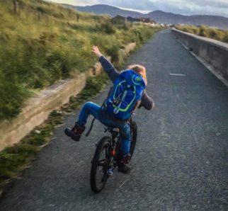 Girl on a bike - having fun