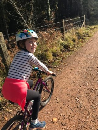 Girls on bicycles - cycling in autumn