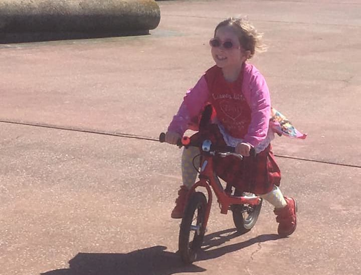 Girls on bicycles - learning to ride a bike