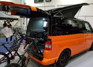 Camper Van fitted out for mountain bikes with shower