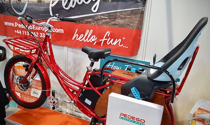 family cargo bikes at the 2019 Cycle Show - Pedego Stretch with rear child seat