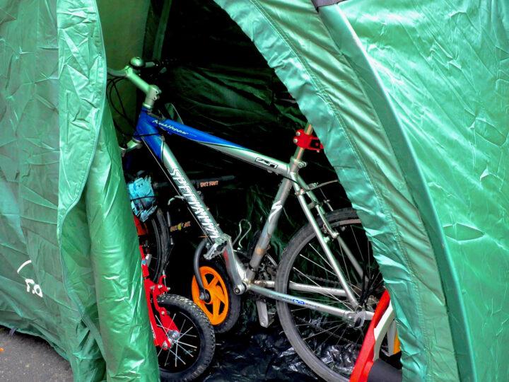 Bike cave storage in green