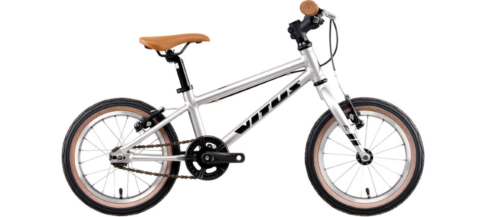 Vitus 14 kids bike in silver = great bike for ages 3 and 4 years old