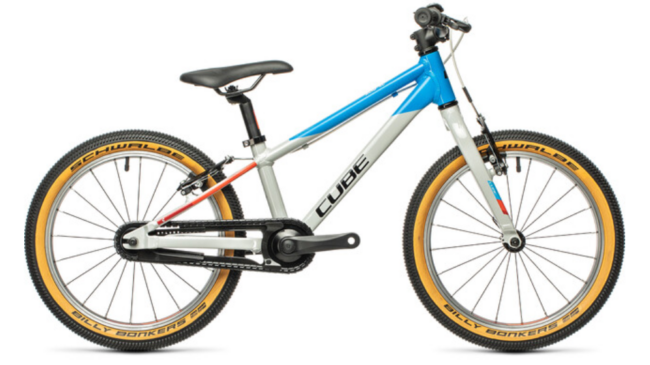 """The Cube Cubie is an 18"""" wheel small kids mountain bike for children who are too small for gears and suspension bikes"""