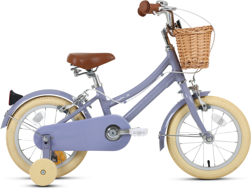 """Hartington 14 - a small 14"""" wheel city bike in the Dutch style with wicker basket"""