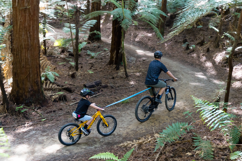 Shotgun MTB Tow Rope Ride - this is a great way to use a tow rope to pull your kids bike behind your bike up a hill when they are slightly older