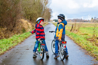 Winter Cycling - wrapped up warm for winter cycling - Adobe Acrobat stock photo