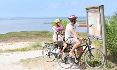 Where to ride your bike - family looking at a map while on a bicycle ride