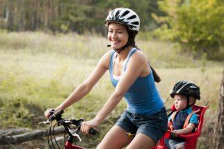 Correctly positioned bike helmet